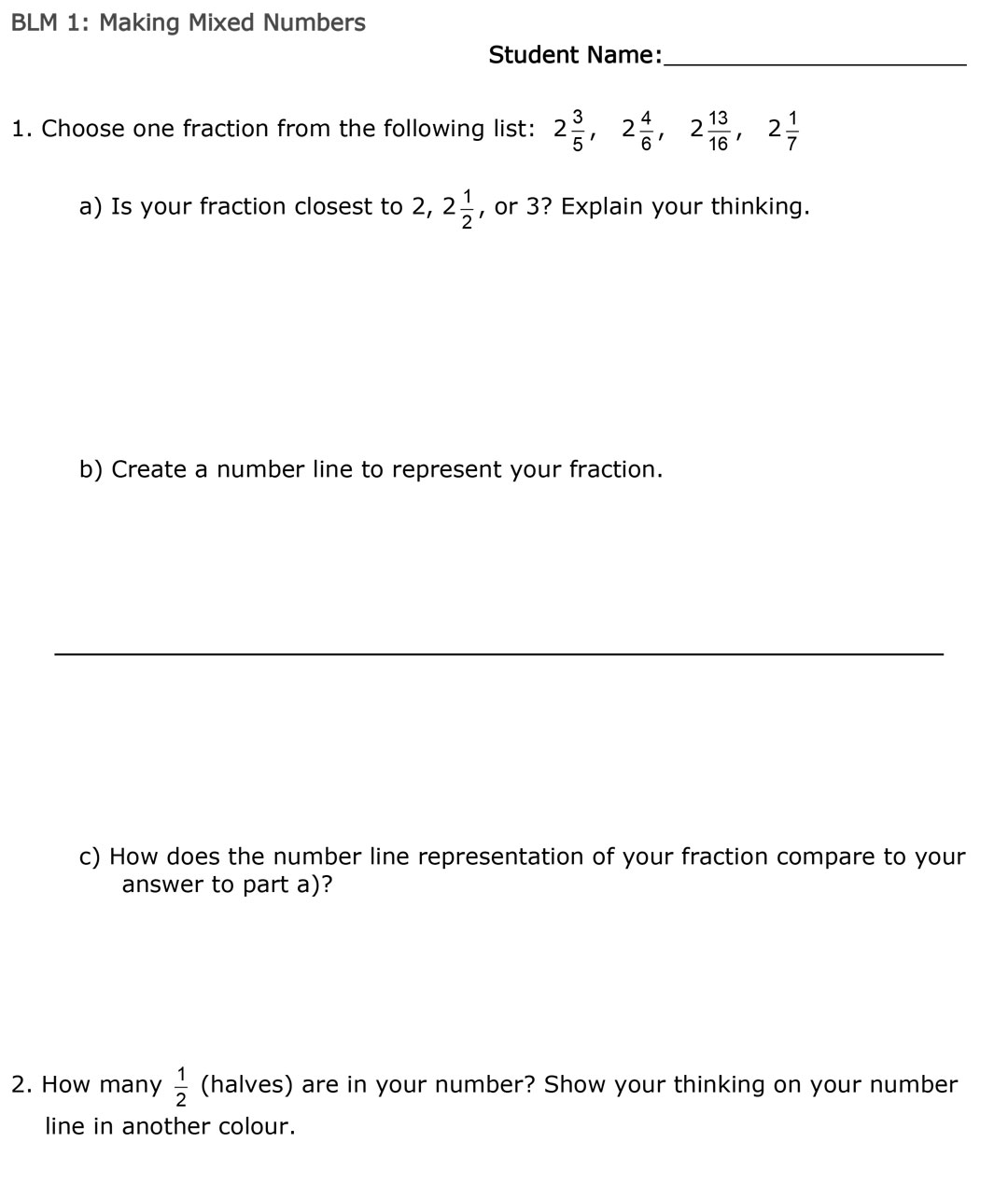Making Mixed Numbers BLM 1 page 1