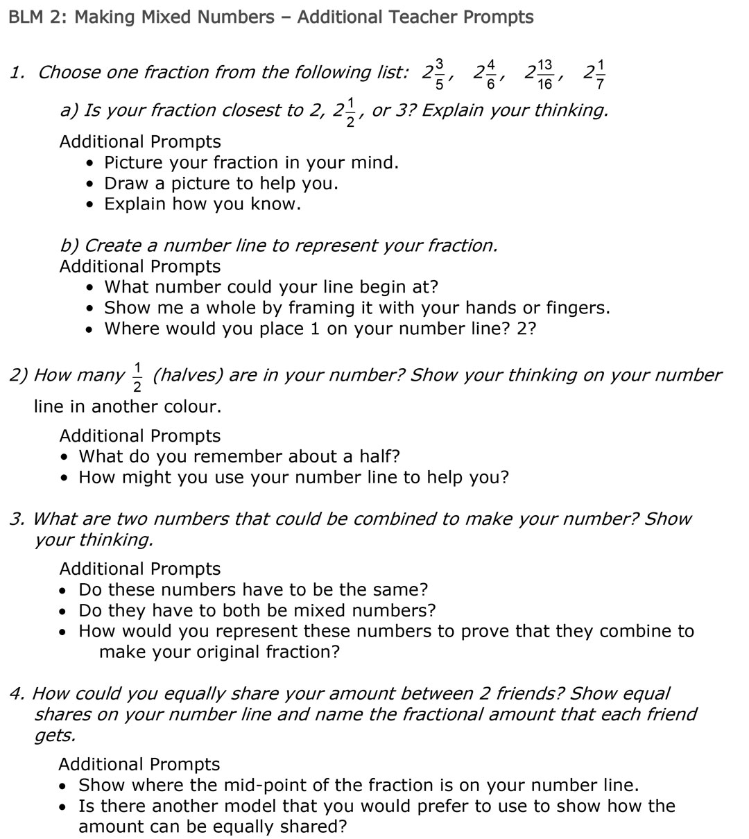 Making Mixed Numbers BLM 2
