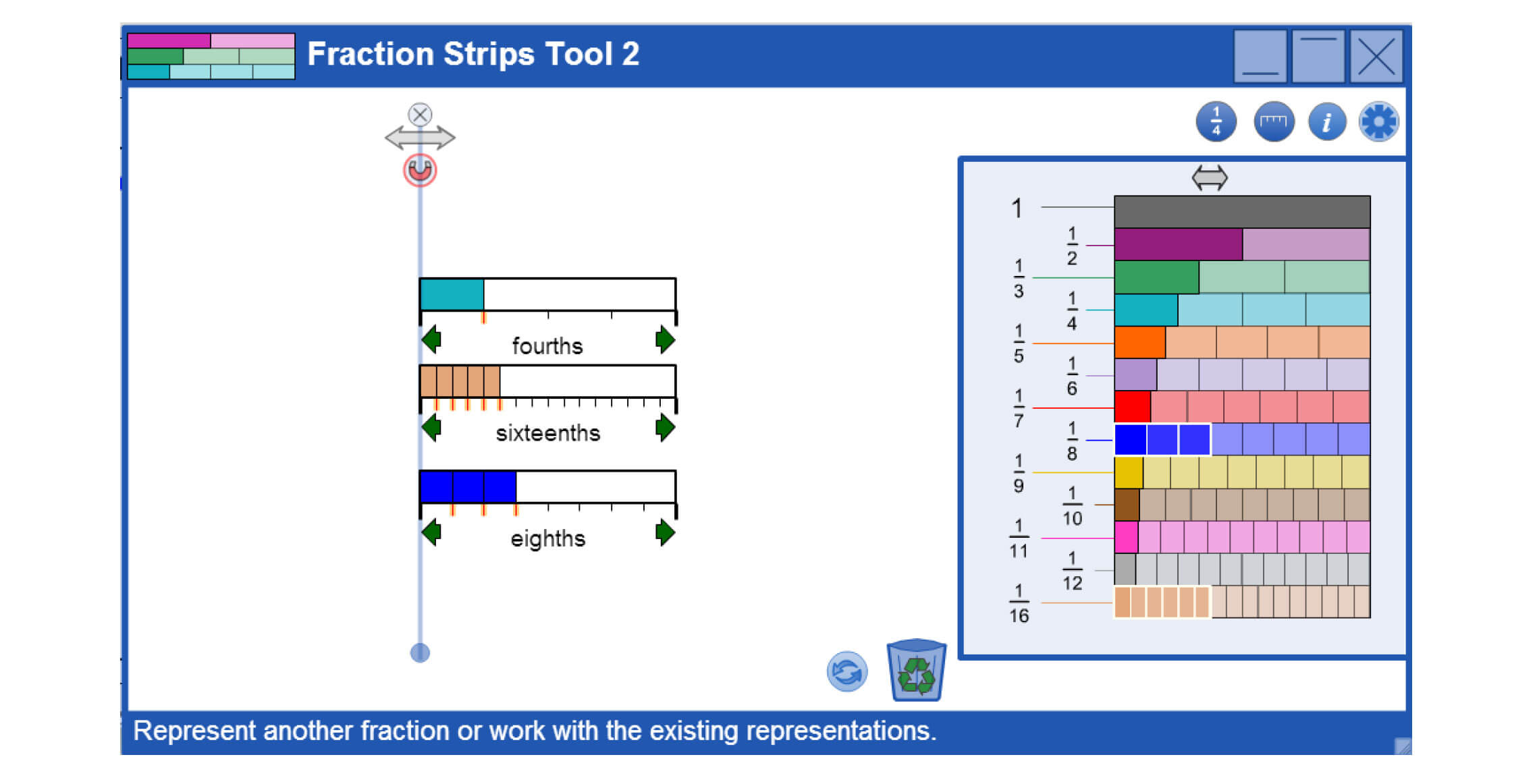 Fraction Strips learning tool at mathies.ca